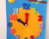 Children Wall Clock, Felt Clock