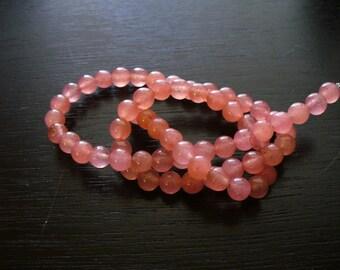 Jade Beads Gemstone Peachy Pink Round 6mm