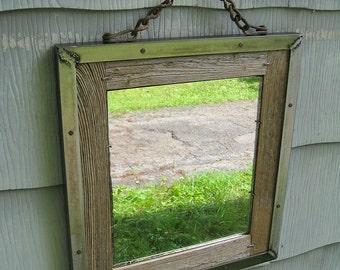 SOLD Small Industrial Rustic Barn Wood Metal Trim Mirror no.1521