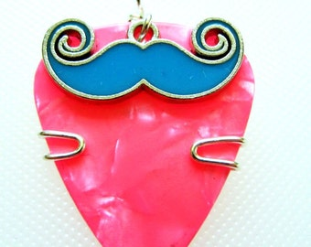 Guitar Pick Necklace with mustache