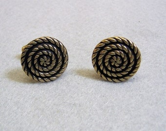 Vintage Antique Golden Metal Coiled Rope Cuff Links