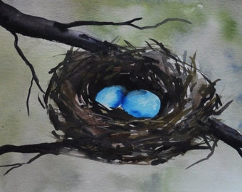 Birds Nest with Robins Blue Eggs Original Watercolor  Painting - nature painting