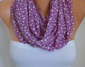 Lavender & White Polka Dot Infinity Scarf Christmas Gift Chiffon Circle Loop Scarf Gift Ideas for her Women Fashion Accessories