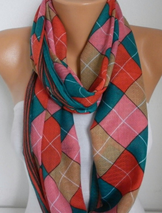 Plaid Cotton Infinity Scarf Fall Scarf Cowl Circle Loop Oversized Bridesmaid Gift Gift Ideas For Her Women Fashion Accessories Scarves