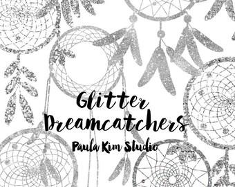 80% OFF SALE  Silver Glitter Dream Catcher Silouhette Glitter Clipart, Silver Glitter, Instant Digital Download