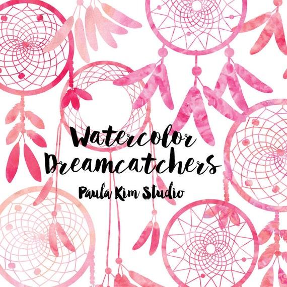80% OFF SALE Pink Dreamcatcher Watercolor Clipart, Dream Catcher ...