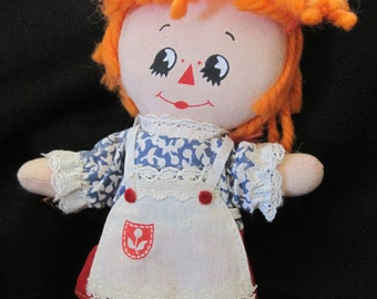 Vintage Raggedy Ann Doll by Knickerbocker - 1970's Miniature