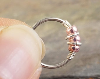 Nose Hoop Nose Ring Cartilage Hoop Tragus Hoop 18 or 20 Gauge Pink Rose Beaded