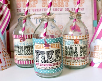 Vintage Circus Drink Bottle Labels Candy Combo - INSTANT DOWNLOAD - Editable & Printable Birthday Party Decorations by Sassaby