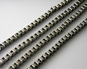 CHAIN-GM-BX-2.4 - Gunmetal Box Chain 2.4mm Link - 5 ft