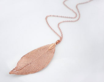 Real leaf long necklace, copper dipped leaf pendant, statement necklace