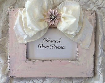 Pink Photo Frame Bow Jewel Shabby Boho Bling Personalize Baby Girl