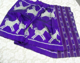 SUMMER SALE Purple Cambodian Hand-Woven Silk Scarf/Shawl/Table Runner/Wall Hanging, horse design, Gifts for Life, vintage