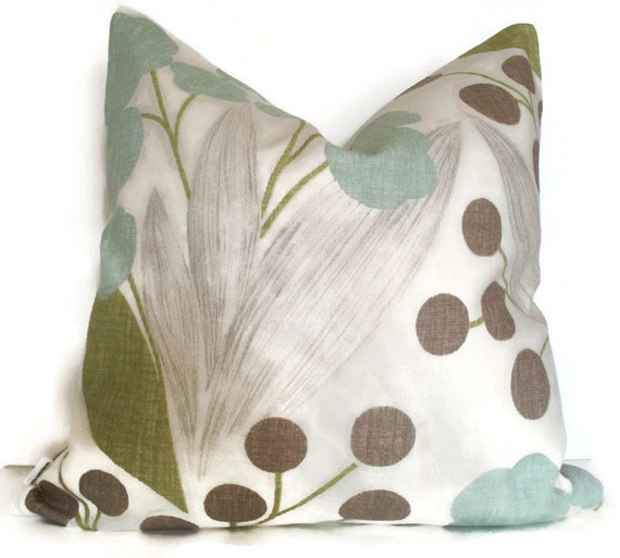 Blue Brown Green Throw Pillows : Blue Green Brown Floral Decorative Pillow Cover Fully Lined BOTH SIDES Kravet Capparis Spa 00, alotm