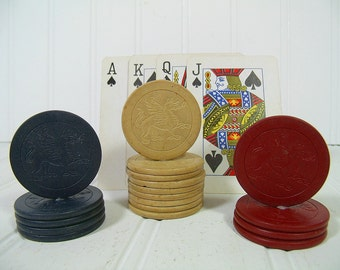 Antique Clay Poker Chips with Embossed Dragons Collection of 18 Pieces - Vintage Red, Blue, & Natural Colors Round Ceramic Card Game Coins