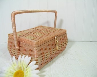 Retro Petite Pink Plastic Wicker & Wood Sewing Basket - Vintage Wooden Crafters Lidded Case with Handle Pink Gingham Interior Artisan Chest