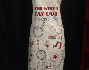 Half price!!! The Wifes Day Out 1940s Mans Flour Sack Apron