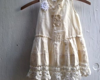 SALE summer  gypsy summer shabby  victorian toddler cream  ecru vintage lace flower girl, rustic fashion,embroidered chic ooak boho child