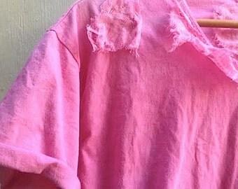 SALE WINTER dark pink berry handmade gypsy boho hand dyed vintage linen tattered tee