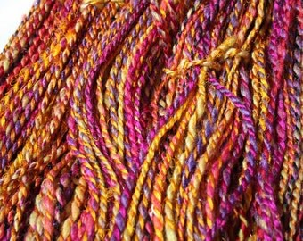Handspun Silk Merino Wool Yarn Worsted Bulky Weight 8 WPI 128 Yards 116 g 4.1 oz Hand Dyed OOAK International Shipping - Sari Sunshine