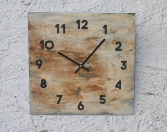 Metal Wall Clock.  Industrial. Chic. Rusty Cream Finish. Abstract. Distressed. Minimalist. Art. Decor.  Functional Art. Gift. Clock