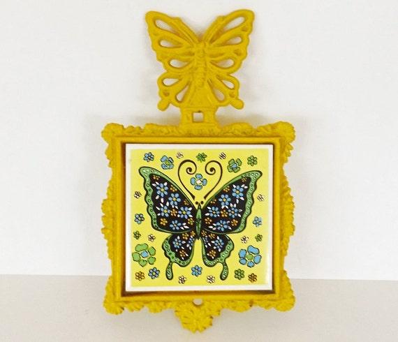 Vintage Trivet Butterfly Decor Kitchen Decor Serving