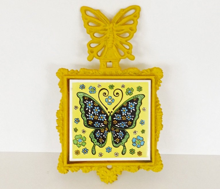 Https Etsy Com Listing 233809617 Vintage Trivet Butterfly Decor Kitchen