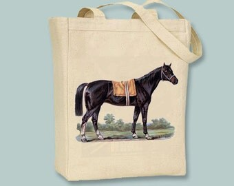 Beautiful Black Horse Vintage illustration Canvas Tote  - Selection of Sizes available