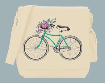 Vintage Illustration Hand colored Bicycle with fun flower basket Canvas Messenger Bag, 15x11x4