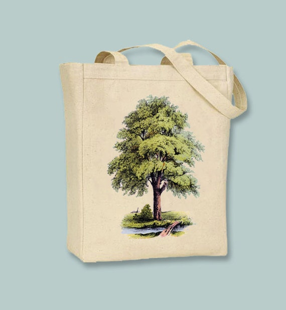 Lush Tree and Brook Vintage Illustration Canvas Tote -- Selection of sizes available