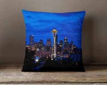 Seattle Pillow, Space Needle Seattle Skyline Blue Pillowcase, Blue Home Decor - 16x16, 18x18, or 20x20 Decorative Throw Pillow Cover