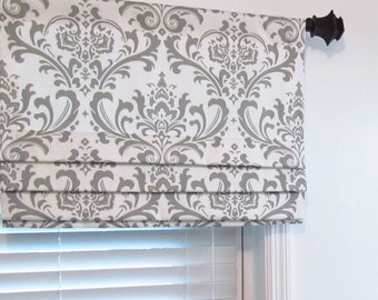 Custom Made Lined Faux Roman Shade Mock Roman Valance Damask Fabric Gray/ Black/ Blue/ Pink/ Wisteria