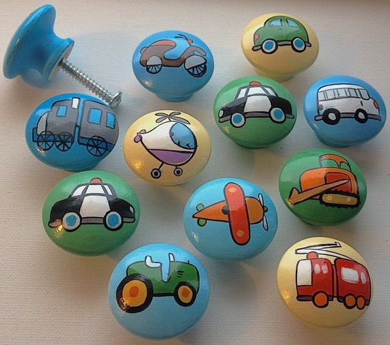 Patchwork Transportation Drawer Pulls / Dresser Knobs / Closet Handles / Hand Painted for Boys, Kids, Nursery Rooms