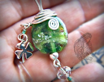 Lampwork Glass Cremains Bead Pet Memorial Keepsake Necklace in Argentium Streling Silver/ Custom Made