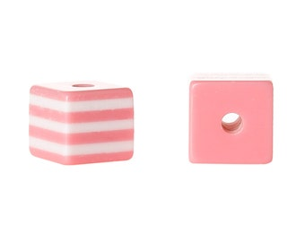 100 ROSE PINK 10mm x 9mm Acrylic Cube Beads, Stripes, bulk package, bac0308b