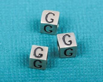 Alphabet LETTER G Sterling Silver Alphabet Block Bead, Square Cube, 4.5mm, pms0311