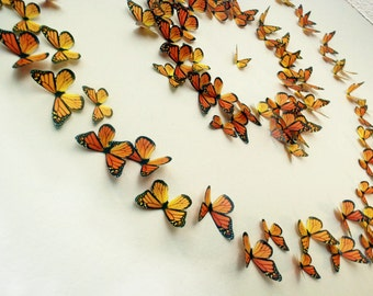 3D Wall Art Realistic Monarch Butterflies - Set of 100