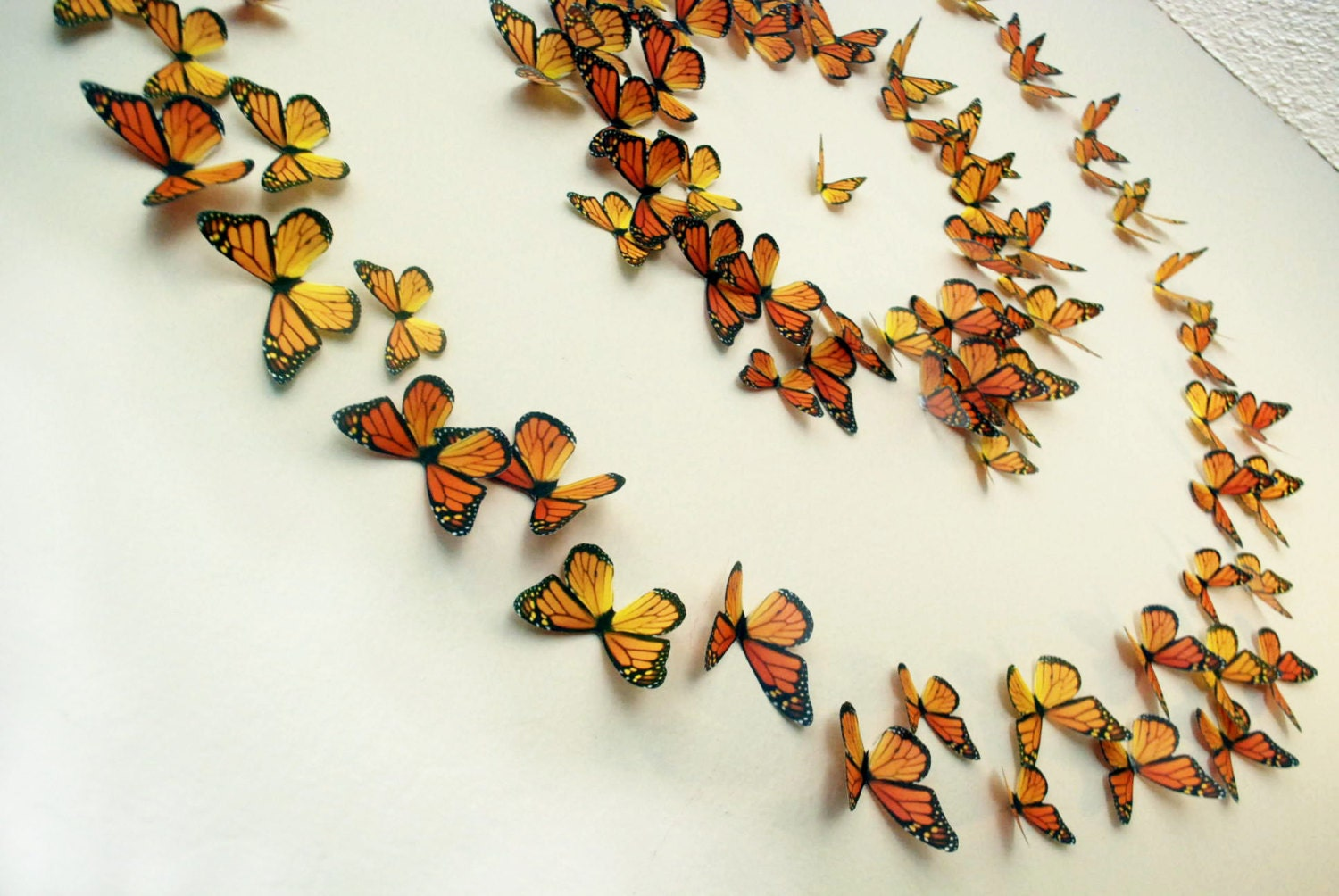 3D Wall Art Realistic Monarch Butterflies Set of 100
