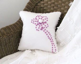 Purple cushion cover PURPLE POSY chenille pillow cover 12 X 12 lavender chenille lilac pillow shabby style cottage chic