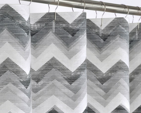 Grey Chevron Shower Curtain Extra Long 72 X 72 78 By PondLilly