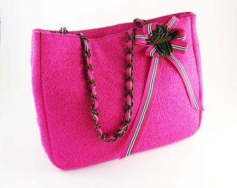 Reduced!  HOT PINK Wool Tweed Tote - Purse -Bag  / by GOLDIE / Silk Lined w Zippered Pocket & Ribbon and Metal Chain Straps: Spring Fashion
