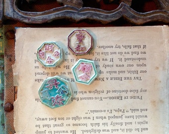 Hong Gambling Tokens Siamese Gaming Token Rare Porcelain Coins 200+ Years Old Quantity of 4