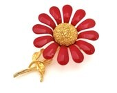 Vintage Enameled Red Flower Pin