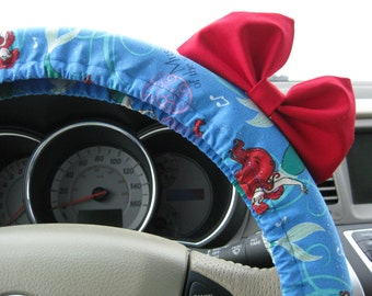 Steering Wheel Cover Bow - Little Mermaid Inspired Steering Wheel Cover with Bright Red Bow BF11047
