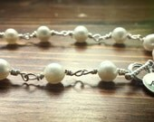 Sterling Silver and Freshwater Pearl Bracelet with Monogram Charm