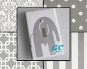 Grey & White Premier Light Switch and Outlet Covers - 12 Patterns Chevron, Damask, Stripe, Dot - Rocker, Toggle, Pole, Duplex, Plug