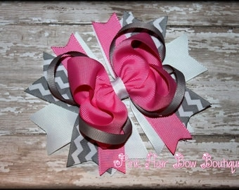 Grey and pink hair bow - Grey and pink stacked hair bow - Big hair bows - Boutique hair bows - Chevron hair bows for girls, Babies, toddlers