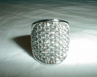 vtg nolan miller pave cz ring sz.6-1/2 sparkling bold statement ring clear silver tube ring vtg nolan miller jewelry clear czs ring sparkle