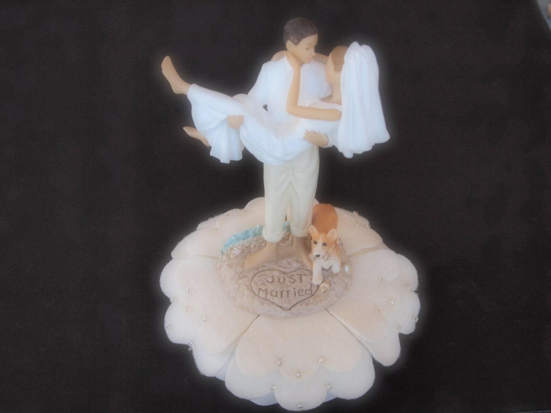 Cake Topper Wedding Ivory Bride and Groom Dog Welsh Pembroke