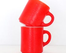 Mid Century Red Textured Milk Glass Mugs - Set of 2